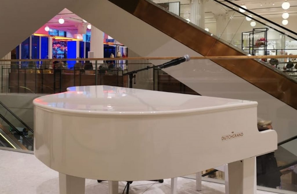 February events round up: Dutchgrand piano shell in white to hire