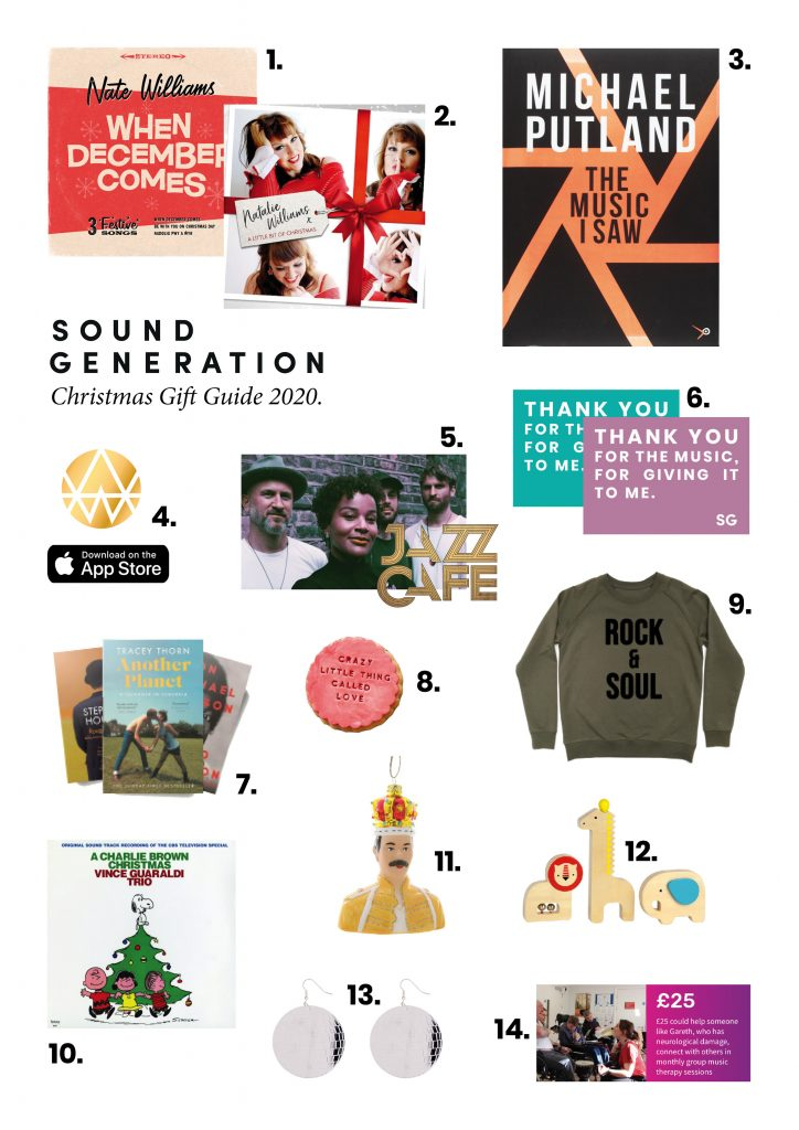 Selection of music inspired christmas gifts, including albums, books, gift vouchers, fashion and interiors.